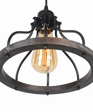 Beuhouz Round Farmhouse Pendant Light 1 Light Metal And Wood Hanging Light Fixture Rustic Kitchen Island Lighting Edison E26 8008 0 2 300x360