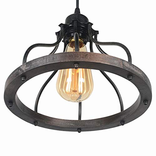 Beuhouz Round Farmhouse Pendant Light 1 Light Metal And Wood Hanging Light Fixture Rustic Kitchen Island Lighting Edison E26 8008 0 2