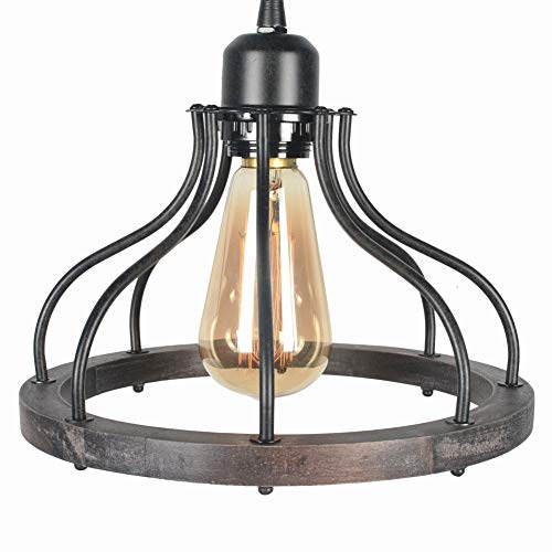 Beuhouz Round Farmhouse Pendant Light 1 Light Metal And Wood Hanging Light Fixture Rustic Kitchen Island Lighting Edison E26 8008 0 3