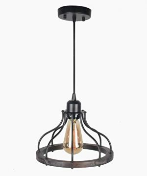 Beuhouz Round Farmhouse Pendant Light 1 Light Metal And Wood Hanging Light Fixture Rustic Kitchen Island Lighting Edison E26 8008 0 4 300x360