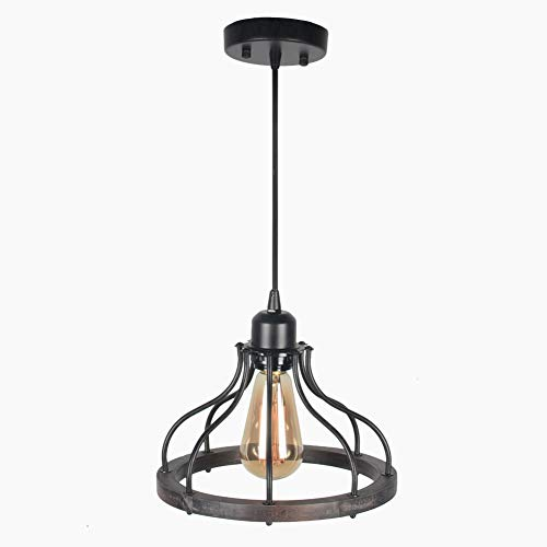Beuhouz Round Farmhouse Pendant Light 1 Light Metal And Wood Hanging Light Fixture Rustic Kitchen Island Lighting Edison E26 8008 0 4