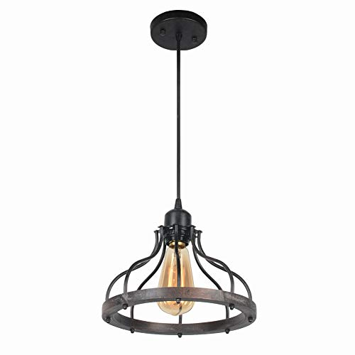 Beuhouz Round Farmhouse Small Pendant Light, 1-Light Metal and Wood Hanging  Light Fixture Rustic Kitchen Island Lighting Edison E26 8008