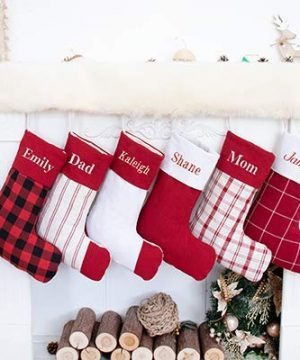 Beyond Your Thoughts Personalized 2019 Christmas Stockings Plaid Cotton Embroidered Country Style For Family Decoration 1 Pack 0 300x360