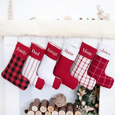 Beyond Your Thoughts Personalized 2019 Christmas Stockings Plaid Cotton Embroidered Country Style For Family Decoration 1 Pack 0