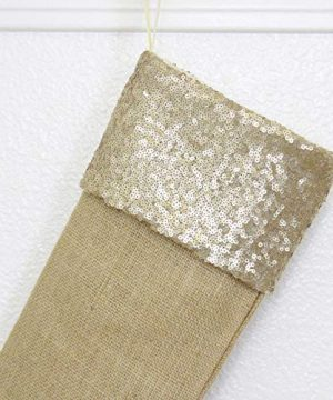 Burlap Christmas Stockings Set Of 4 Sturdy And Durable Gold Sparkle Sequins Cuffs With Burlap Jute Family Set Handmade In USA VARIETY Of 4 Style 1 PACK Of FOUR 65 X 16 0 1 300x360