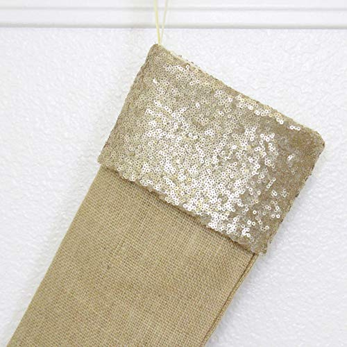 Burlap Christmas Stockings Set Of 4 Sturdy And Durable Gold Sparkle Sequins Cuffs With Burlap Jute Family Set Handmade In USA VARIETY Of 4 Style 1 PACK Of FOUR 65 X 16 0 1