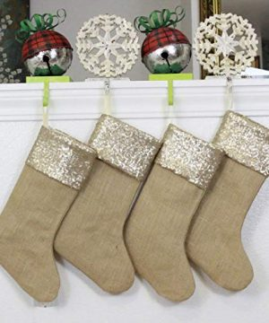 Burlap Christmas Stockings Set Of 4 Sturdy And Durable Gold Sparkle Sequins Cuffs With Burlap Jute Family Set Handmade In USA VARIETY Of 4 Style 1 PACK Of FOUR 65 X 16 0 2 300x360