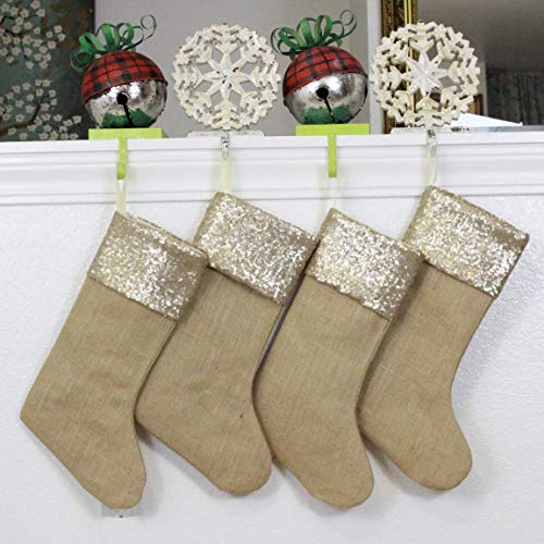 Burlap Christmas Stockings Set Of 4 Sturdy And Durable Gold Sparkle Sequins Cuffs With Burlap Jute Family Set Handmade In USA VARIETY Of 4 Style 1 PACK Of FOUR 65 X 16 0 2