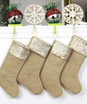 Burlap Christmas Stockings Set Of 4 Sturdy And Durable Gold Sparkle Sequins Cuffs With Burlap Jute Family Set Handmade In USA VARIETY Of 4 Style 1 PACK Of FOUR 65 X 16 0 300x360