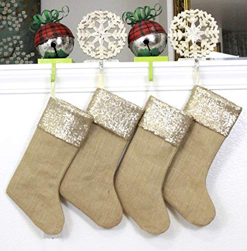 Burlap Christmas Stockings Set Of 4 Sturdy And Durable Gold Sparkle Sequins Cuffs With Burlap Jute Family Set Handmade In USA VARIETY Of 4 Style 1 PACK Of FOUR 65 X 16 0