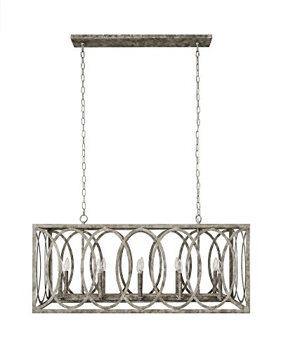 CHATRIE Large Gray French Country Rectangular Chandelier 45 Wide 0 0