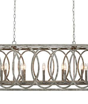 CHATRIE Large Gray French Country Rectangular Chandelier 45 Wide 0 300x354