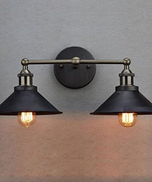 CLAXY Ecopower Industrial Edison Simplicity 2 Light Wall Mount Light Sconces Aged Steel Finished 0 1 300x360