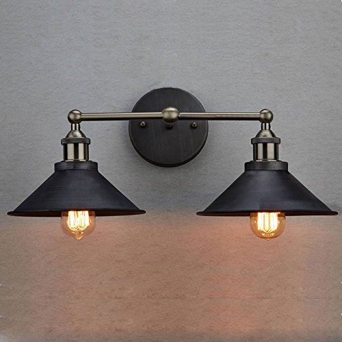 CLAXY Ecopower Industrial Edison Simplicity 2 Light Wall Mount Light Sconces Aged Steel Finished 0 1