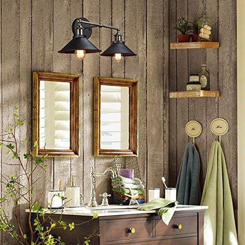 CLAXY Ecopower Industrial Edison Simplicity 2 Light Wall Mount Light Sconces Aged Steel Finished 0 2
