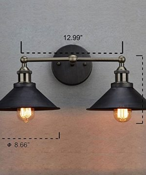 CLAXY Ecopower Industrial Edison Simplicity 2 Light Wall Mount Light Sconces Aged Steel Finished 0 3 300x360