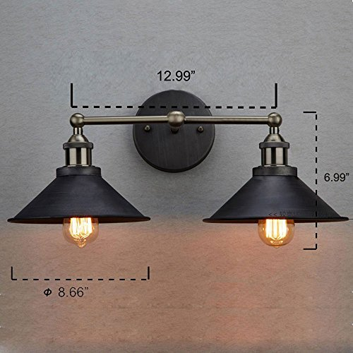 CLAXY Ecopower Industrial Edison Simplicity 2 Light Wall Mount Light Sconces Aged Steel Finished 0 3