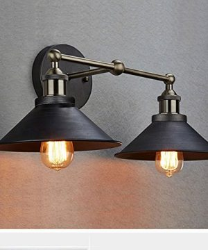 CLAXY Ecopower Industrial Edison Simplicity 2 Light Wall Mount Light Sconces Aged Steel Finished 0 300x360