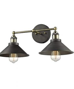 CLAXY Ecopower Industrial Edison Simplicity 2 Light Wall Mount Light Sconces Aged Steel Finished 0 5 300x360