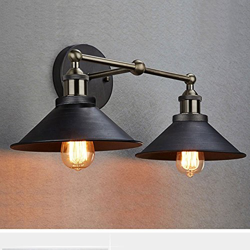 CLAXY Ecopower Industrial Edison Simplicity 2 Light Wall Mount Light Sconces Aged Steel Finished 0