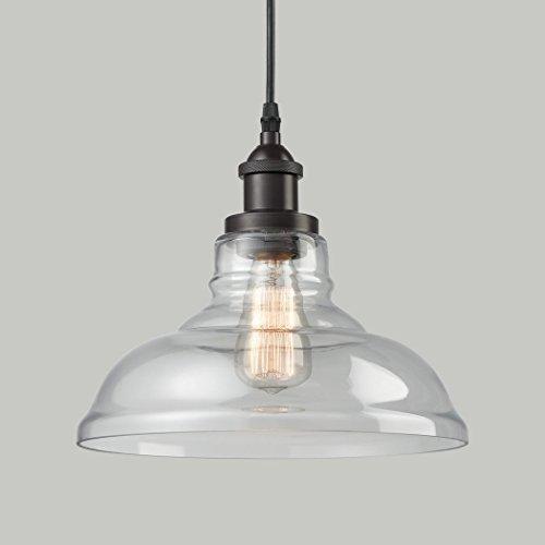 CLAXY Ecopower Industrial Edison Vintage Style 1 Light Pendant Glass Hanging Light 0 1