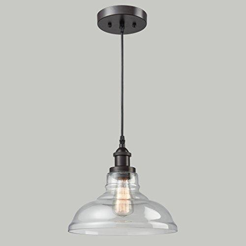 CLAXY Ecopower Industrial Edison Vintage Style 1 Light Pendant Glass Hanging Light 0 5