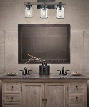 CLAXY Glass Mason Jar Wall Sconces Distressed Wooden Metal 3 Light Bath Vanity Lights 0 0 300x360
