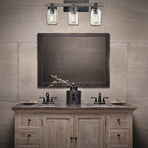 CLAXY Glass Mason Jar Wall Sconces Distressed Wooden Metal 3 Light Bath Vanity Lights 0 0
