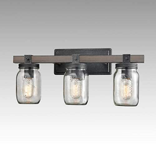CLAXY Glass Mason Jar Wall Sconces Distressed Wooden Metal 3 Light Bath Vanity Lights 0 1