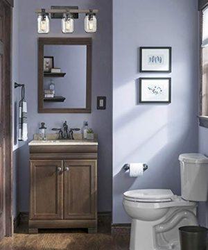 CLAXY Glass Mason Jar Wall Sconces Distressed Wooden Metal 3 Light Bath Vanity Lights 0 2 300x360