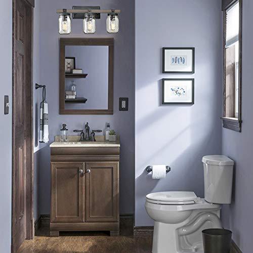 CLAXY Glass Mason Jar Wall Sconces Distressed Wooden Metal 3 Light Bath Vanity Lights 0 2