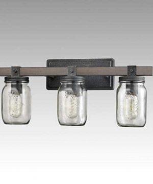 CLAXY Glass Mason Jar Wall Sconces Distressed Wooden Metal 3 Light Bath Vanity Lights 0 3 300x360