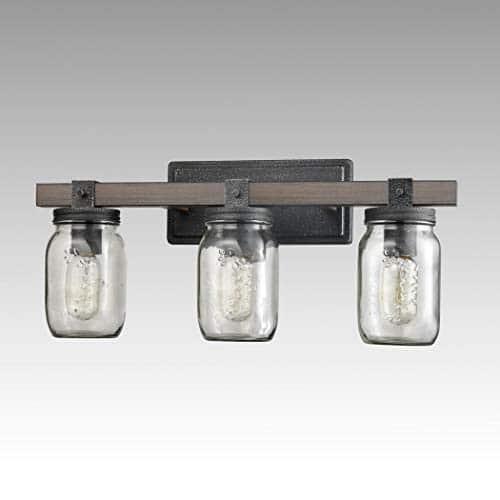 CLAXY Glass Mason Jar Wall Sconces Distressed Wooden Metal 3 Light Bath Vanity Lights 0 3