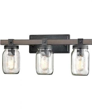 CLAXY Glass Mason Jar Wall Sconces Distressed Wooden Metal 3 Light Bath Vanity Lights 0 300x360