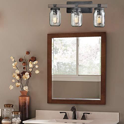 CLAXY Glass Mason Jar Wall Sconces Distressed Wooden Metal 3 Light Bath Vanity Lights 0 5