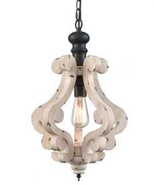 CLAXY Wooden Pendant Light Distressing Off White Finish Farmhouse Chandelier 0 300x360