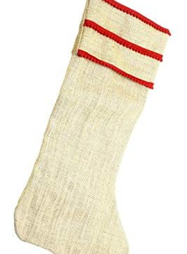 COOP Country Christmas Burlap Holiday Stocking With Ricrac Fringe 0 266x360
