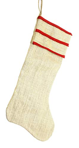 COOP Country Christmas Burlap Holiday Stocking With Ricrac Fringe 0