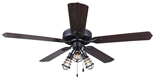 Canarm LTD CF52OTT5GPH Otto 52 Ceiling Fan 5 Rev Blades Silver OakWalnut 3 Light Graphite Metal Cage Shades Dual Mount No Limiter 0 1