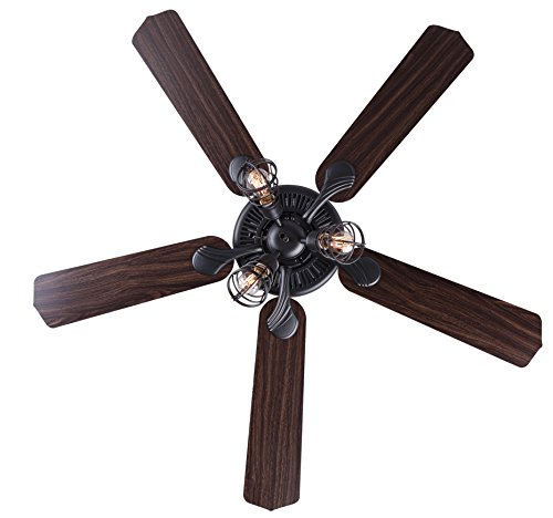 Canarm LTD CF52OTT5GPH Otto 52 Ceiling Fan 5 Rev Blades Silver OakWalnut 3 Light Graphite Metal Cage Shades Dual Mount No Limiter 0 2