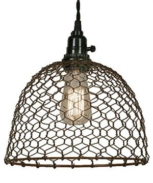 Chicken Wire Dome Pendant Light In Primitive Rust Finish 0 300x360