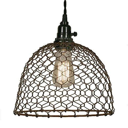 Chicken Wire Dome Pendant Light In Primitive Rust Finish 0