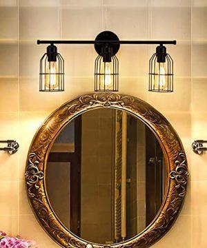 Create For Life 3 Light Industrial Bathroom Vanity Light Black Metal Cage Wall Sconce Bathroom Lighting Vintage Edison Wall Lamp Fixture For Mirror Cabinets Vanity Table 0 0 300x360