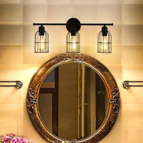 Create For Life 3 Light Industrial Bathroom Vanity Light Black Metal Cage Wall Sconce Bathroom Lighting Vintage Edison Wall Lamp Fixture For Mirror Cabinets Vanity Table 0 0