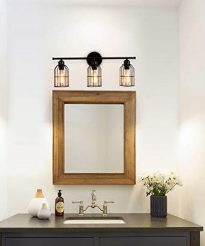 Create For Life 3 Light Industrial Bathroom Vanity Light Black Metal Cage Wall Sconce Bathroom Lighting Vintage Edison Wall Lamp Fixture For Mirror Cabinets Vanity Table 0 1 300x360