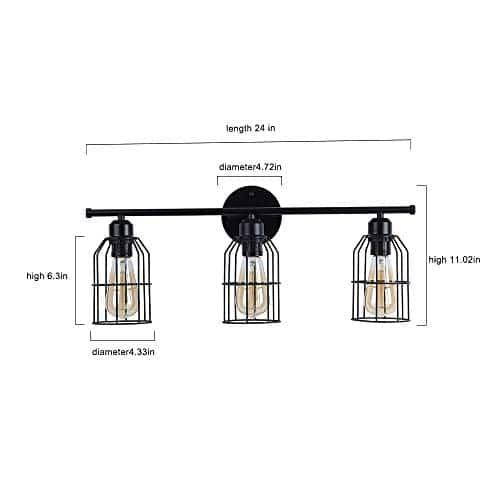 Create For Life 3 Light Industrial Bathroom Vanity Light Black Metal Cage Wall Sconce Bathroom Lighting Vintage Edison Wall Lamp Fixture For Mirror Cabinets Vanity Table 0 2