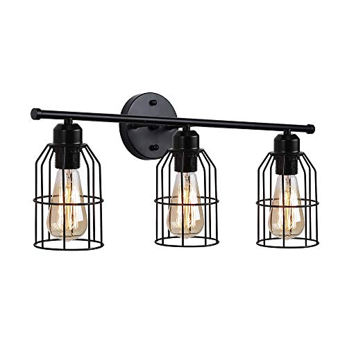 Create For Life 3 Light Industrial Bathroom Vanity Light Black Metal Cage Wall Sconce Bathroom Lighting Vintage Edison Wall Lamp Fixture For Mirror Cabinets Vanity Table 0