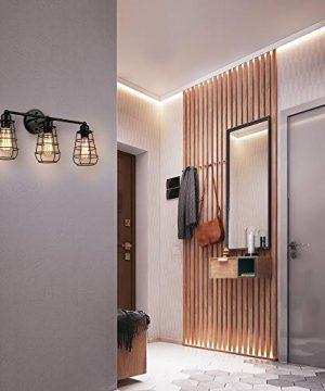 Create For Life 3 Light Industrial Vanity Lights Black Cage Wall Sconces Vintage Rustic Bathroom Wall Lighting 0 1 300x360