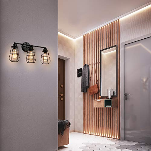 Create For Life 3 Light Industrial Vanity Lights Black Cage Wall Sconces Vintage Rustic Bathroom Wall Lighting 0 1