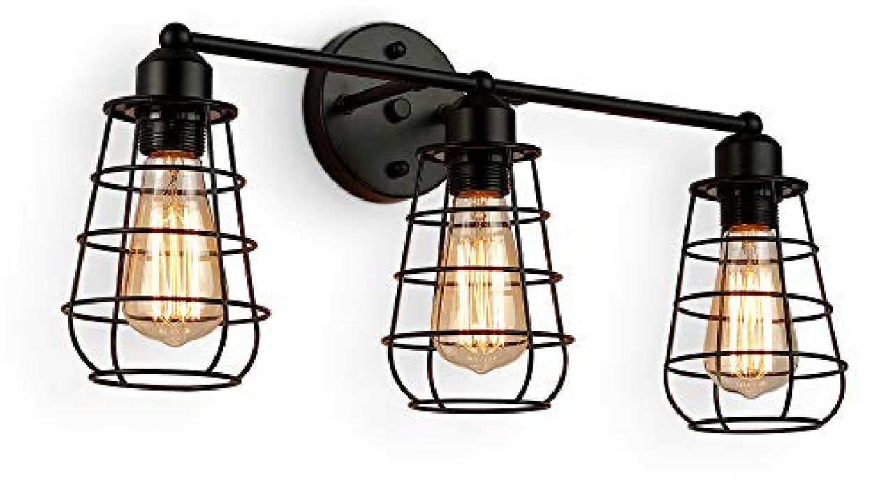 Create For Life 3 Light Industrial Vanity Lights Black Cage Wall Sconces Vintage Rustic Bathroom Wall Lighting Farmhouse Goals